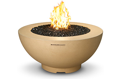 Circular fire table by Seaway Pools & Hot Tubs