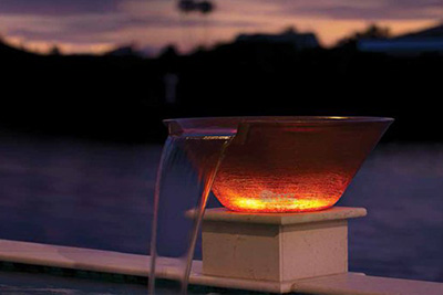 Red light-up water bowl installation by Seaway Pools