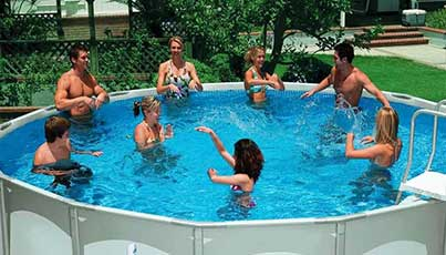 Seaway Vinyl Lined Inground Pools - people in the pool